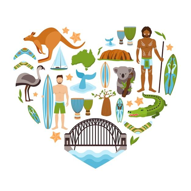 Australie en forme de coeur Vecteur gratuit