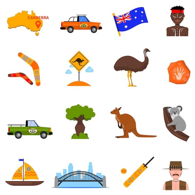 Australie Icons Set Vecteur gratuit
