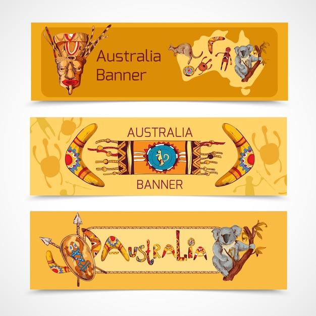 Australie, natif, aborigène, tribal, ethnique, coloré, croquis, horizontal, bannière, ensemble, isolé, vecteur Vecteur gratuit
