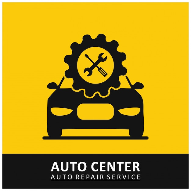 Auto center service de réparation automatique gear icon avec outils et car yellow background Vecteur gratuit