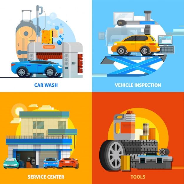 Auto service 2x2 design concept set Vecteur gratuit