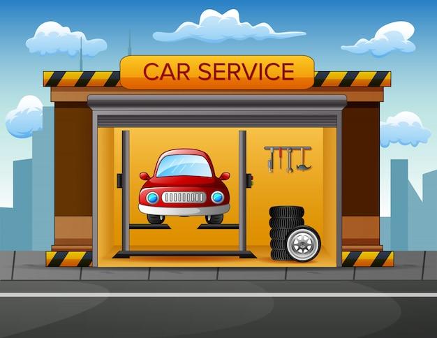 Auto Service Building Background Avec Voiture à L'intérieur Vecteur Premium