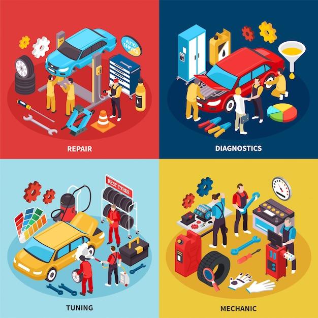 Auto Service Concept Icons Set Vecteur gratuit