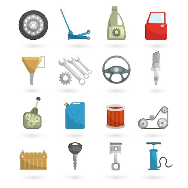Auto service icons flat Vecteur gratuit