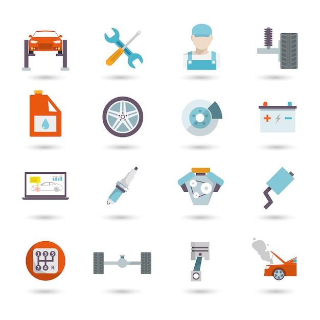 Auto service icons flat Vecteur Premium