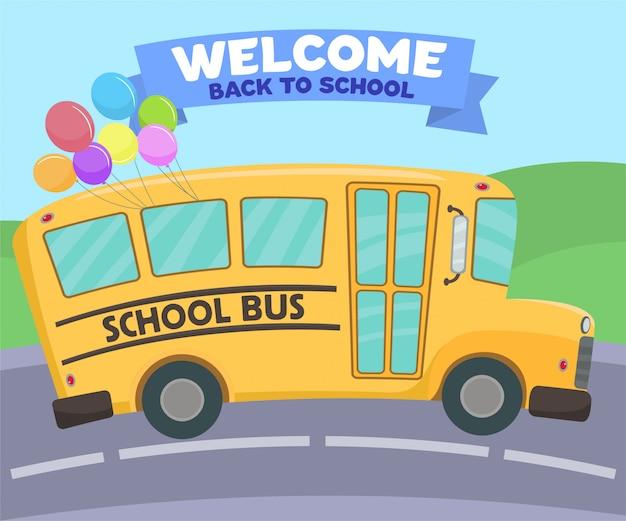 Autobus scolaire avec ballons multicolores Vecteur Premium