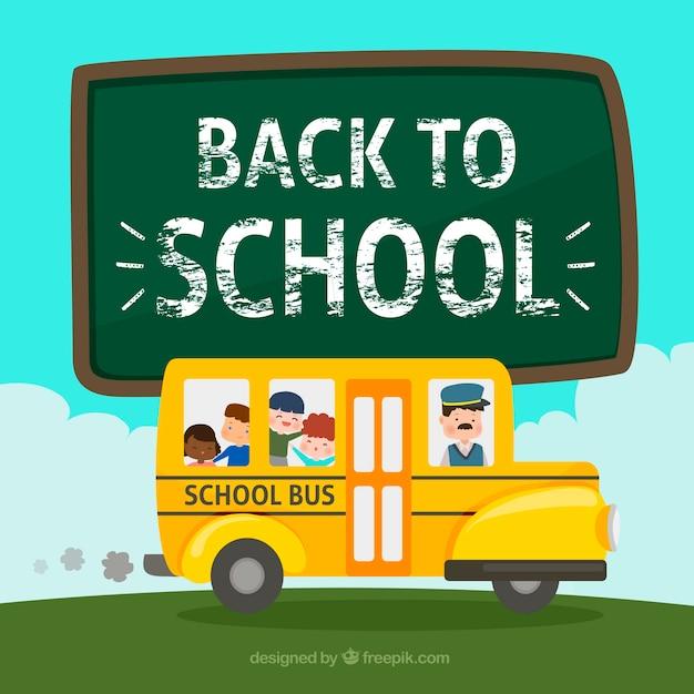 Autobus scolaire avec chauffeur et étudiants Vecteur gratuit