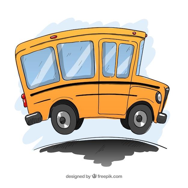 Autobus scolaire classique avec style dessiné à la main Vecteur gratuit