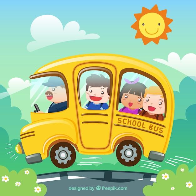 Autobus scolaire de dessin anim et les enfants avec un - Autobus scolaire dessin ...