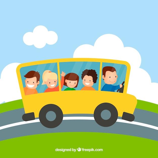 Autobus scolaire de dessin animé et les enfants avec un design plat Vecteur gratuit