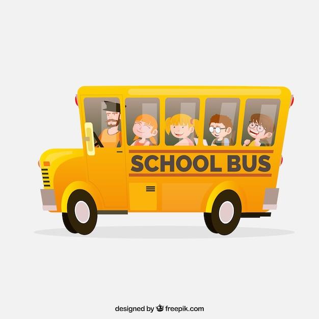 Autobus Scolaire De Dessin Animé Avec Des Enfants