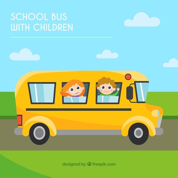 Autobus scolaire de dessin anim avec des enfants - Autobus scolaire dessin ...