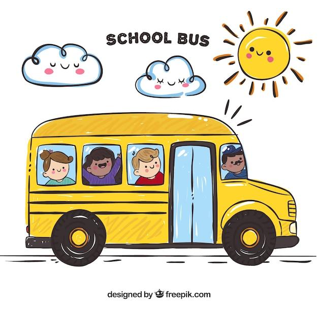 Autobus scolaire avec des enfants heureux Vecteur gratuit