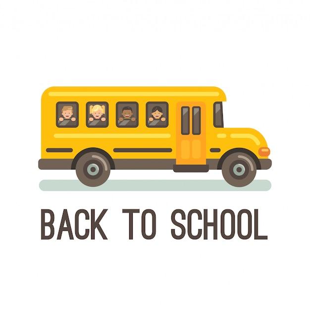 Autobus scolaire jaune avec quatre enfants regardant par la fenêtre Vecteur Premium