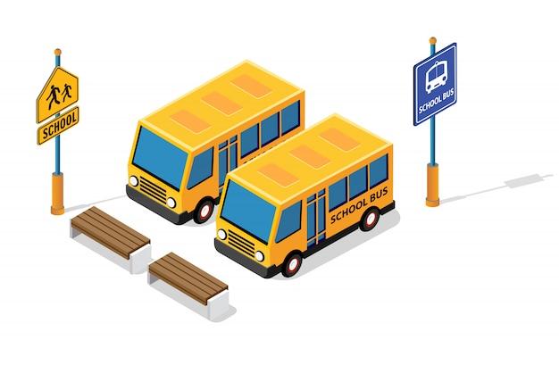 Autobus scolaire sur le parking de la rue Vecteur Premium