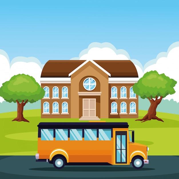 Autobus scolaire en passant par dessin animé Vecteur gratuit