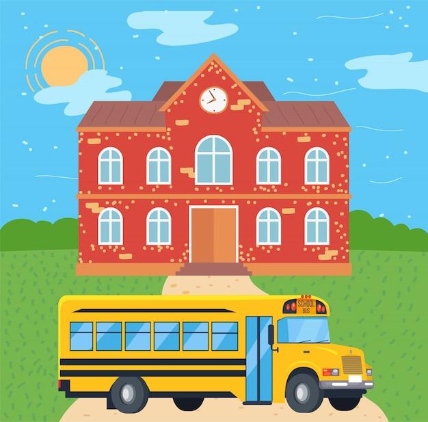 Autobus scolaire près du collège Vecteur Premium
