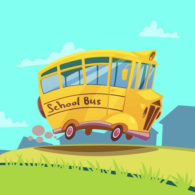 Autobus scolaire rétro Vecteur gratuit