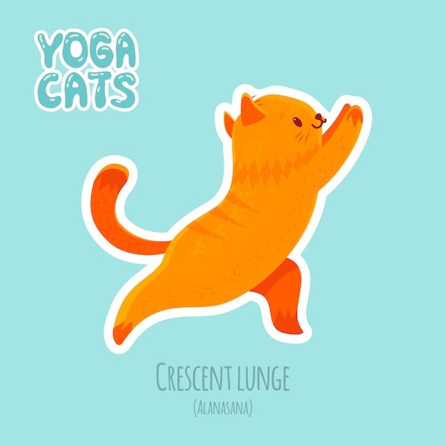 Autocollant Avec Un Chat Mignon Pratiquant Le Yoga Vecteur Premium