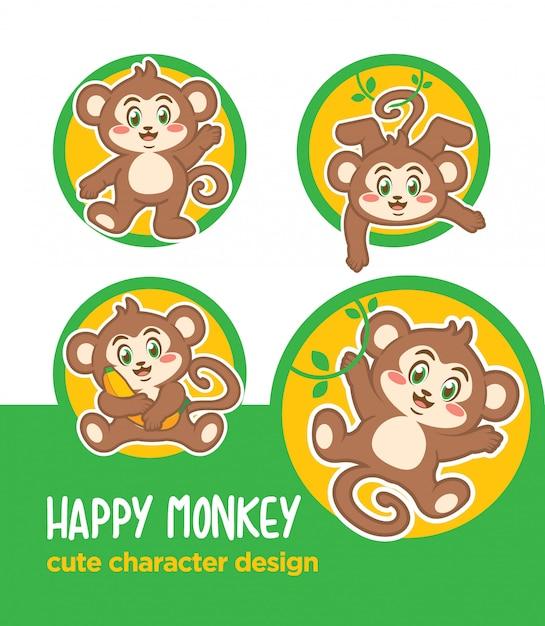 Autocollant dessin animé mascotte animal singe Vecteur Premium