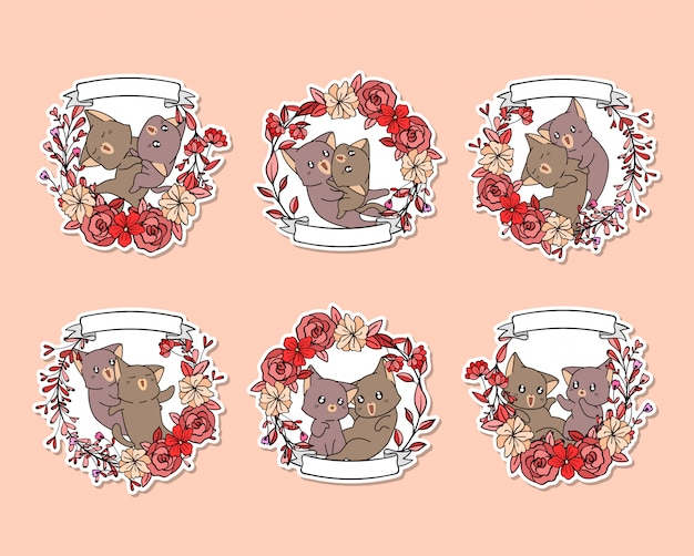 Autocollant Dessiné à La Main D'adorables Chats Avec Une Couronne Rose Vecteur Premium