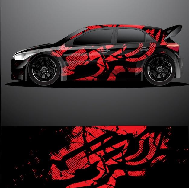 Autocollant Graphique De Voiture De Rallye Vecteur Premium