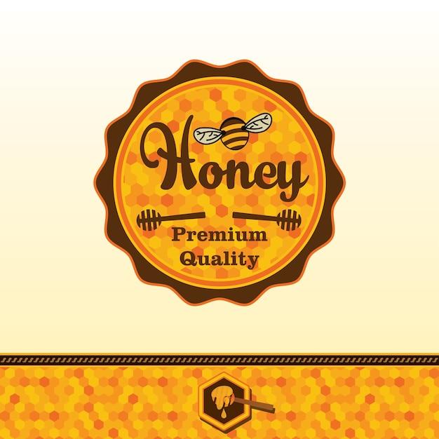 Autocollant de miel. Vecteur Premium