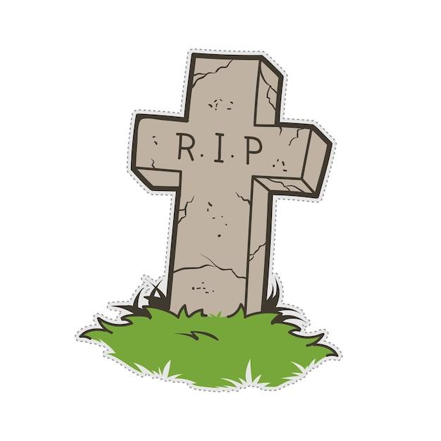 Autocollant de patch de doodle de cimetière de halloween grave. Vecteur Premium