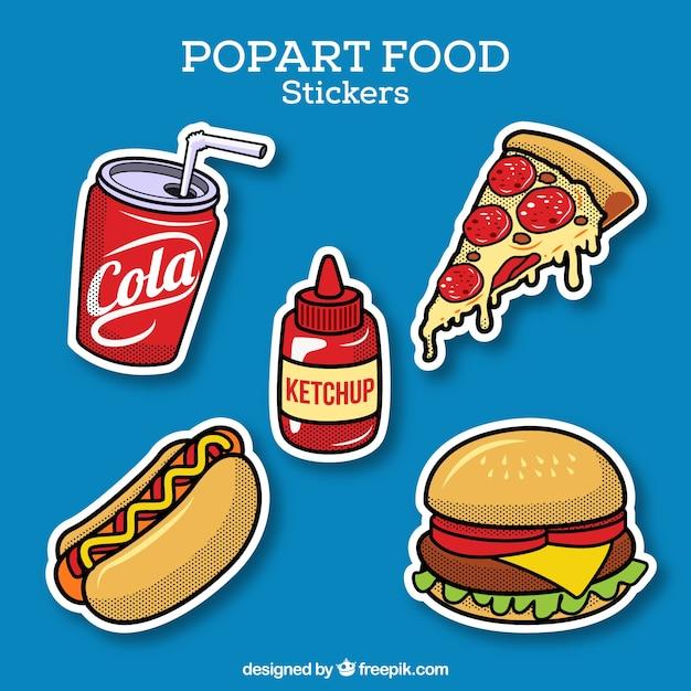 Autocollants alimentaires avec style pop art Vecteur gratuit