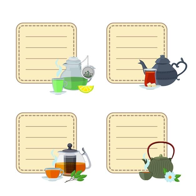 Autocollants bouilloires et tasses à thé Vecteur Premium