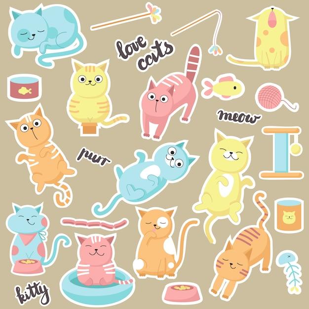 Autocollants de chats mignons. vector illustration dessinée de chats d'amour heureux, chatons manger, lécher, dormir, miauler et jouer. Vecteur Premium