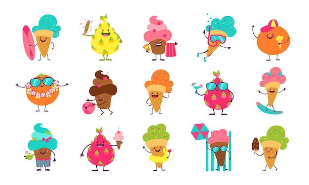 Autocollants De Crème Glacée D'été. Desserts Et Fruits Drôles De Griffonnage Avec Des Visages Mignons Faisant Des Activités D'été. Vecteur Premium