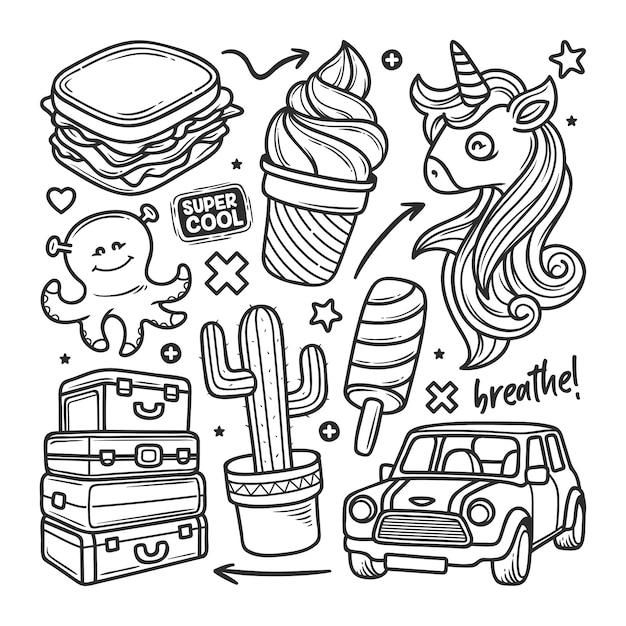 Autocollants Doodle Dessinés à La Main Vecteur gratuit