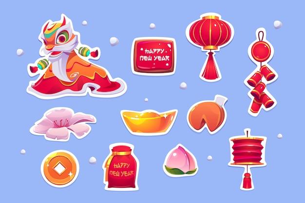Autocollants Du Nouvel An Chinois. Vecteur gratuit