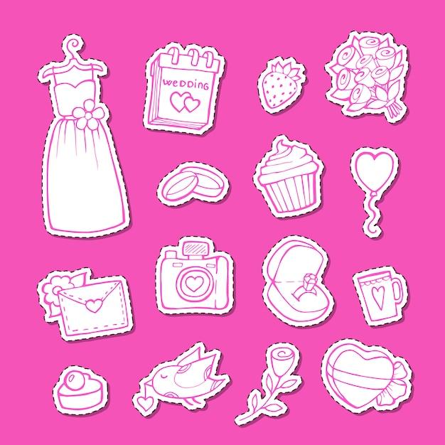 Autocollants D'éléments De Mariage Doodle Set Illustration Vecteur Premium