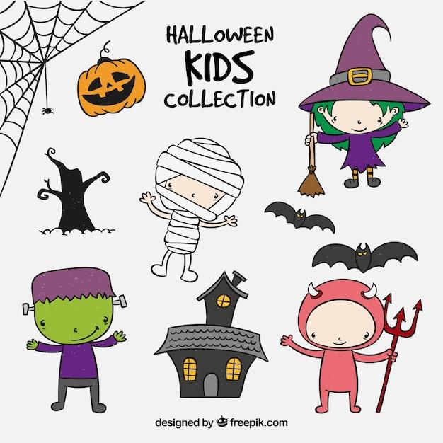 Autocollants avec les enfants de halloween Vecteur gratuit