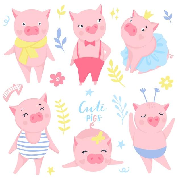 Autocollants mignons avec des cochons roses rigolos Vecteur Premium