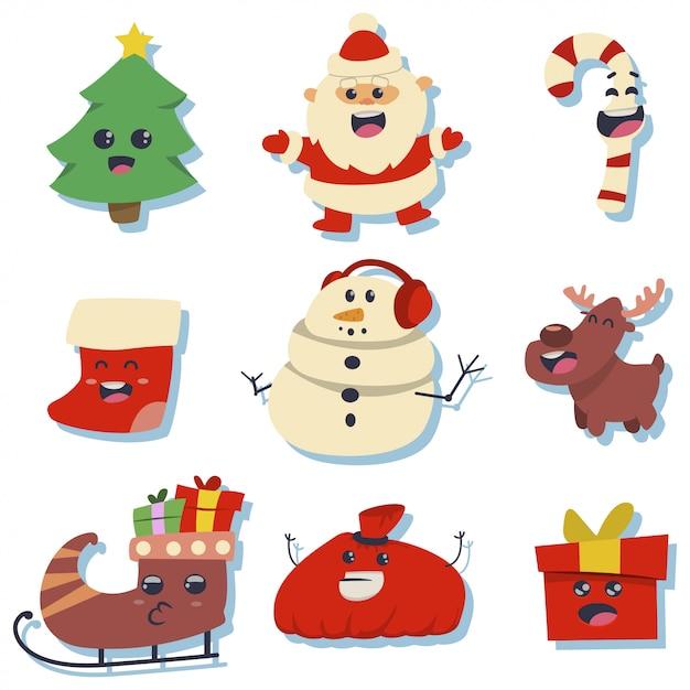 Autocollants mignons de noël avec des personnages de vacances kawaii: père noël, arbre, canne en sucre, stockage, bonhomme de neige, coffret cadeau, renne, traîneau et sac. Vecteur Premium
