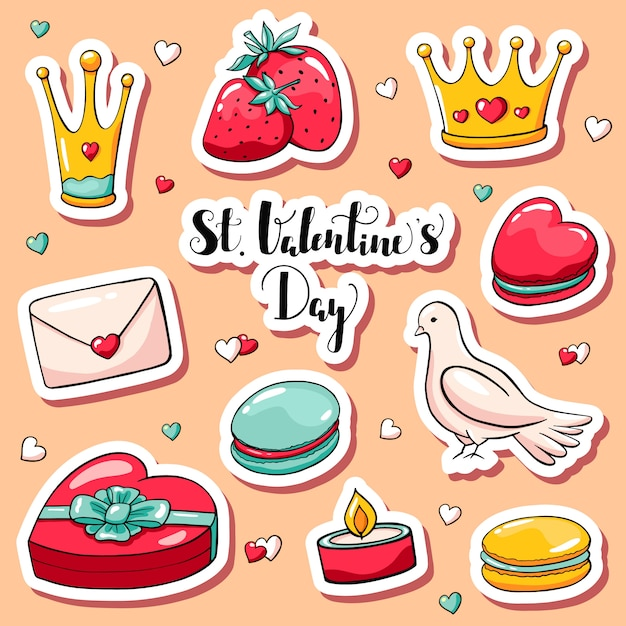 Autocollants mignons de la saint-valentin dans un style doodle Vecteur Premium