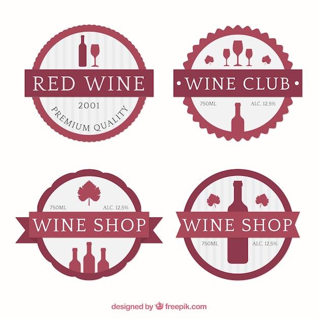 Autocollants mignons de vin Vecteur gratuit