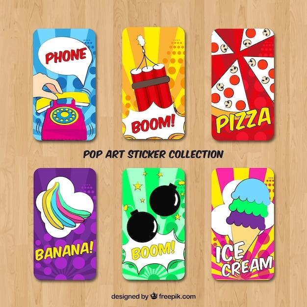 Autocollants pop art avec style coloré Vecteur gratuit