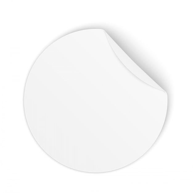Autocollants ronds en papier adhésif avec coin incurvé. Vecteur Premium