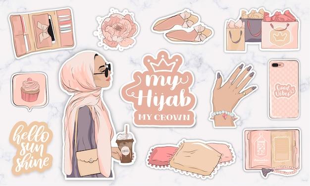 Autocollants Sertis D'objets Et D'une Jeune Femme Musulmane Moderne Portant Un Hijab Vecteur Premium