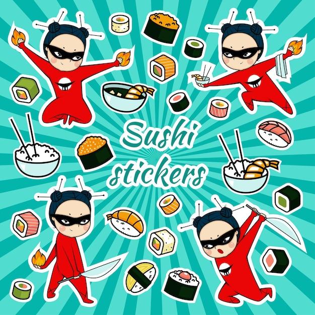 Autocollants De Sushi De Vecteur Avec Personnage De Dessin Animé Ninja Vecteur Premium