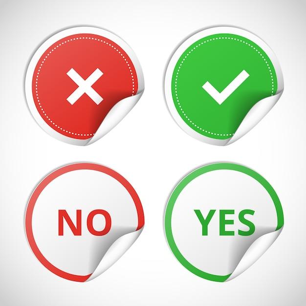 Autocollants De Vecteur Avec Consentement Et Refus Sur Fond Blanc Vecteur gratuit