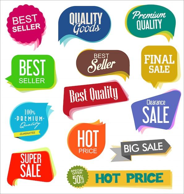 Autocollants de vente modernes Vecteur Premium