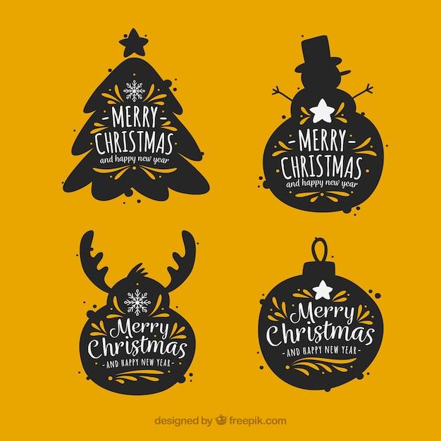 Autocollants vintage ensemble de silhouettes d'éléments de Noël Vecteur gratuit