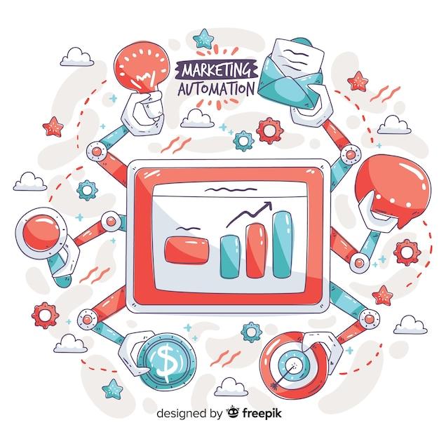 Automatisation du marketing arrière-plan dessiné à la main Vecteur gratuit