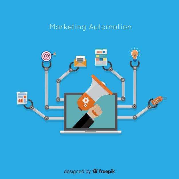 Automatisation du marketing fond plat Vecteur gratuit