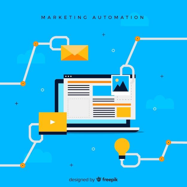 Automatisation du marketing pour ordinateur portable Vecteur gratuit